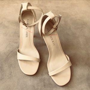 Sole Society cream leather heels sandals NIB